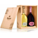Champagne Ruinart brut rose + blanc de blancs Duo Wooden