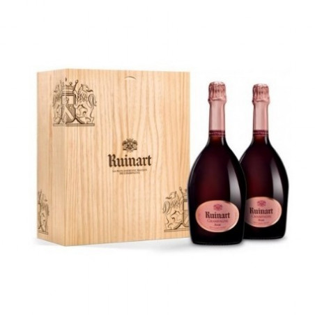 Champagne Ruinart rose Duo Wooden